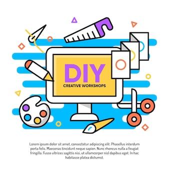Diy kreative werkstattillustration