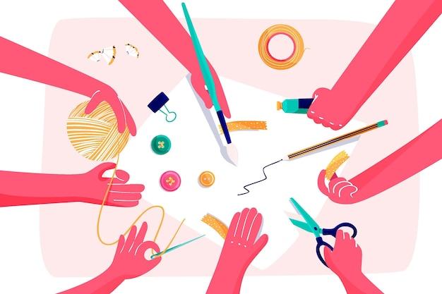 Diy kreative werkstattkonzeptillustration mit händen