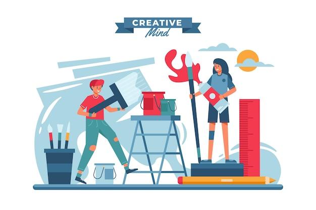 Diy kreative werkstattkonzeptillustration