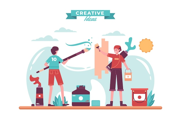 Diy kreatives werkstattkonzept illustriert