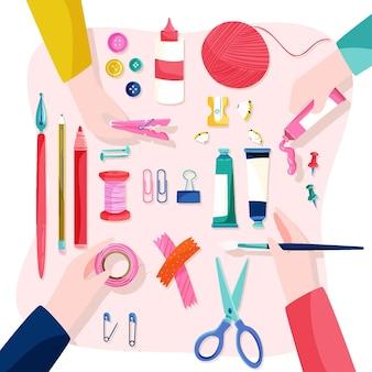 Diy kreatives werkstattkonzept mit händen