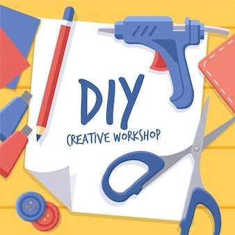 Diy kreatives werkstattkonzept