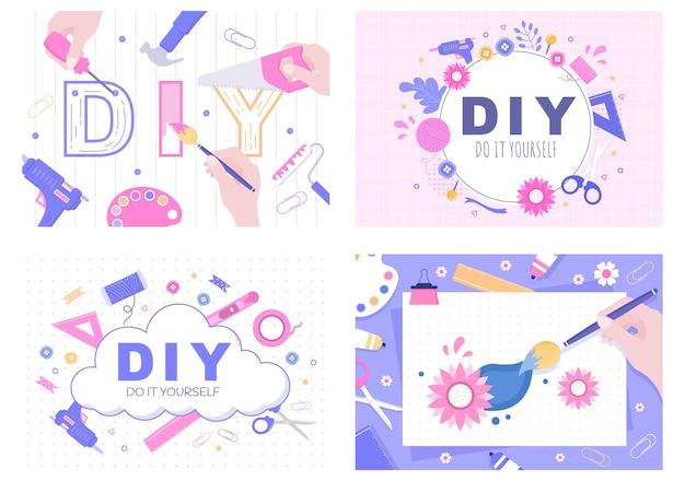 Diy tools do it yourself hintergrundillustration für hausrenovierung und kreative projekte