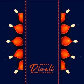 Diya lampendekoration in der blauen glücklichen diwali illustration