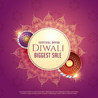 Diya-verkaufshintergrund mit crackern und mandaladekoration