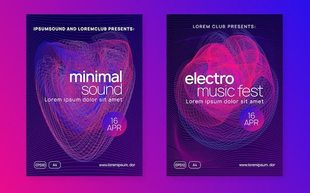 Dj-event. kommerzielles diskothek-plakatset. dynamische flüssigkeitsform und -linie. techno trance party. elektrotanzmusik