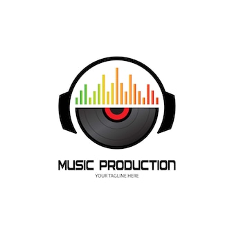 Dj-kopfhörer, musikstudio-aufnahme, soundwave-logo