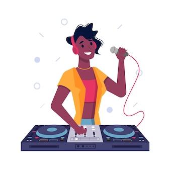 Dj-mädchen oder schwarze afroamerikanische frau, die musik am plattenteller spielt und im mikrofonvektor flach spricht