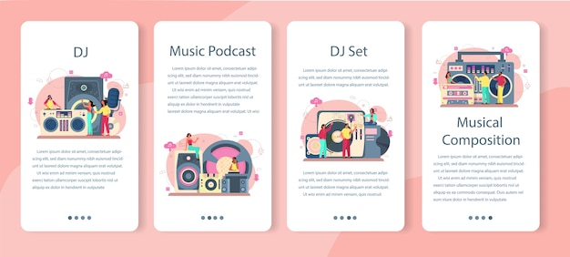Dj mobile application banner set