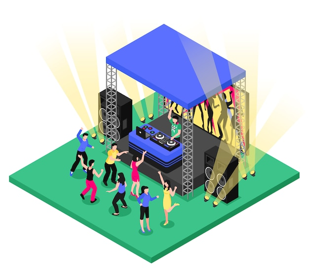 Dj music isometric composition