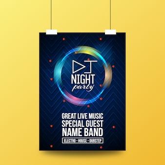 Dj night live musik party flyer