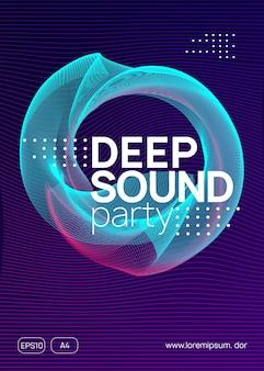 Dj-party. dynamische verlaufsform und -linie. geometrisches konzertbanner-layout. neon-dj-party-flyer. electro-dance-musik. techno-trance. elektronisches klangereignis. clubfest-plakat.