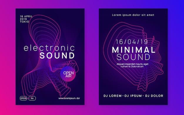 Dj-party. trendiges show-banner-set. dynamische verlaufsform und -linie. neon-dj-party-flyer. electro-dance-musik. techno-trance. elektronisches klangereignis. clubfest-plakat.