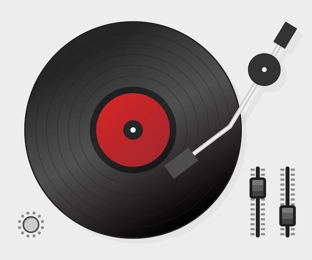 Dj spielt vinyl. ansicht von oben. dj interface workspace mischpult-plattenspieler. .