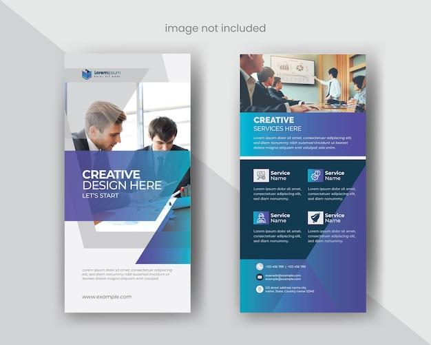 Dl-flyer-vorlage mit blauen farbverlaufs-grafikelementen