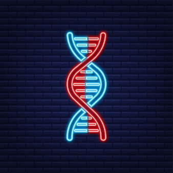 Dna-abzeichen, symbol, stempel, logo auf dunklem hintergrund. vektor-illustration.