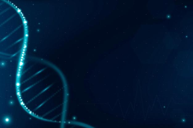 Dna-biotechnologie-wissenschaftshintergrundvektor im blauen futuristischen stil mit leerzeichen