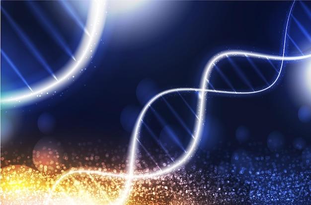 Dna digitale sequenzcodestruktur mit leuchtendem wissenschaftskonzept und nanotechnologie-hintergrund