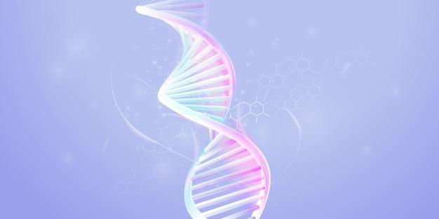 Dna-doppelhelix-modell auf blassviolettem hintergrund