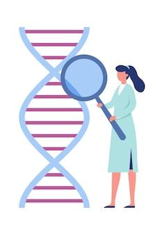 Dna-gentechnik. laborforschung biotechnologie-konzept. medizinische oder labormitarbeiterin, die ein lupenglas hält und die vektorillustration der dna-drahtgitterstruktur überprüft