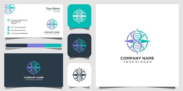 Dna helix kompass genetisches logo