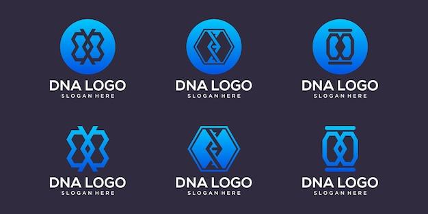 Dna-logo mit visitenkartendesign-vektorprämie