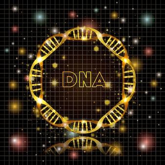 Dna-molekül-kreisförmige goldene struktur