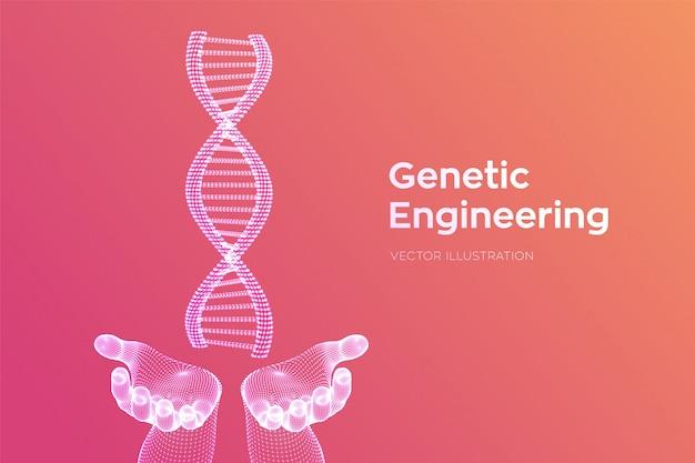 Dna-sequenz in händen. drahtgitter-dna-code-moleküle strukturieren das netz.