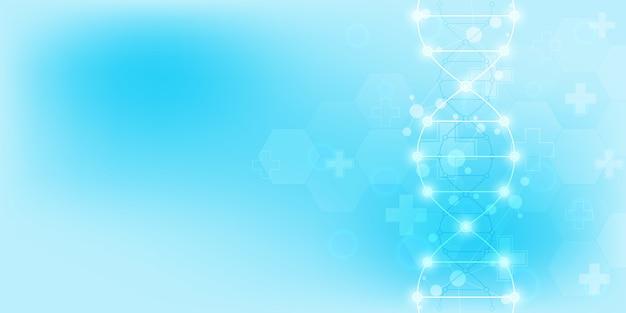 Dna-strang hintergrund und gentechnik oder laborforschung. medizintechnik und wissenschaftskonzept.