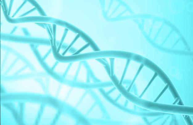 Dna-struktur. abstrakter biotechnologischer hintergrund. doppelhelix. blaue farbe.