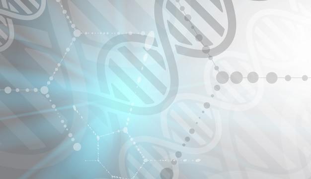 Dna und medizinischer und technologiehintergrund. futuristische darstellung der molekülstruktur
