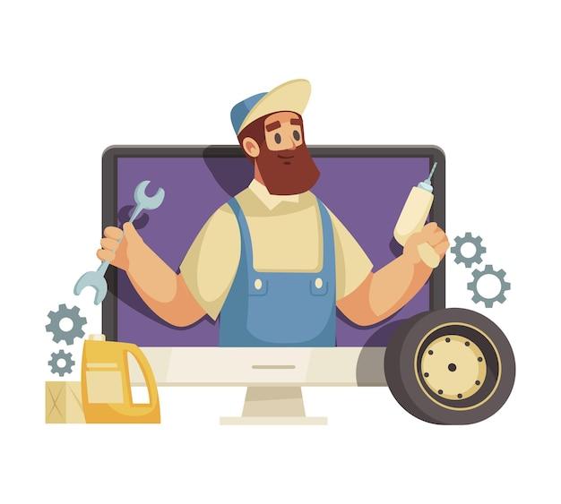 Do it yourself video-blogger-cartoon-symbol mit mechaniker-charakter auf dem computerbildschirm