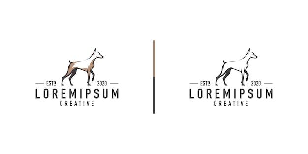 Dobermann hund logo design vorlage