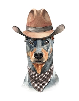 Dobermannhundeaquarell mit kostüm.