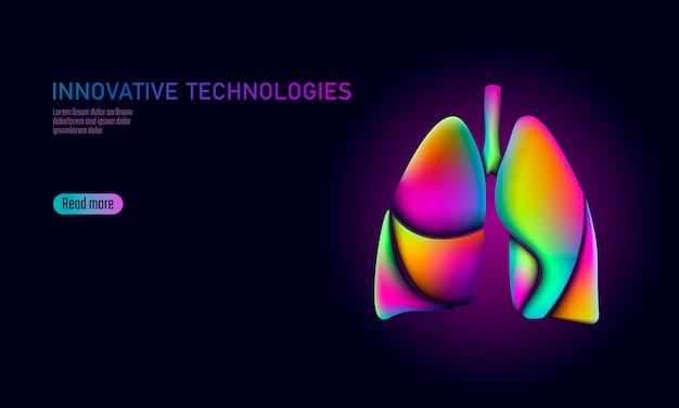 Doctor online medizinische app mobile anwendungen. digitale gesundheitsmedizin lungen gradientenfarbe hell lebendige flüssigkeit 3d-kunststoff. holographische forminnovationstechnologieillustration der neonstörung