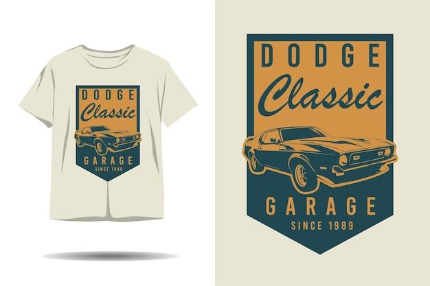 Dodge klassisches garagenauto-silhouette-t-shirt-design