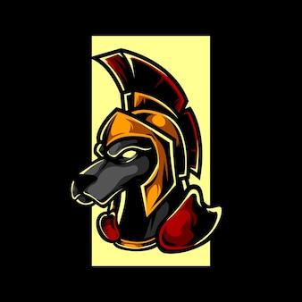 Dog knight e sport maskottchen logo