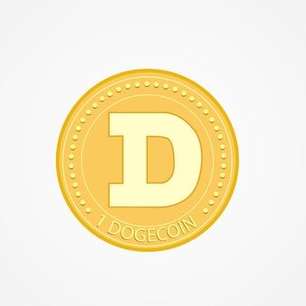 Dogecoin dezentralisiertes blockchain-internet-of-things-zahlungsvektorsymbol. kryptowährungssymbol isoliert auf weißem hintergrund.