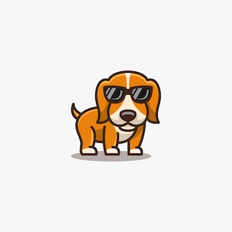 Dogy cute pose mit brille illustration.