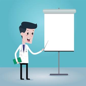 Doktor auf präsentation, vektorkarikatur