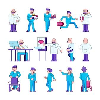 Doktor bei der arbeit in der medizinischen klinik, krankenhaussammlungssatz.