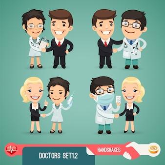 Doktor-cartoon-charaktere eingestellt