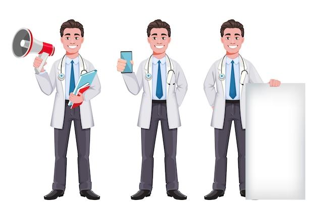 Doktor cartoon zeichensatz von drei posen