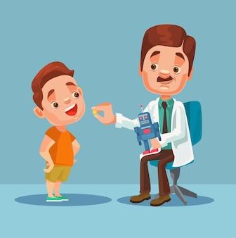 Doktor charakter, der dem kleinen jungenpatienten medizin gibt