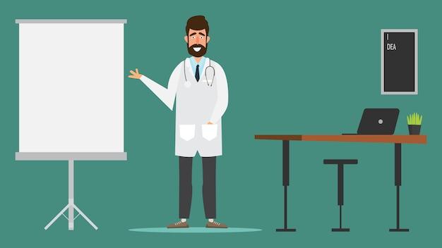 Doktor charakter design in krankenhaus arztpraxis.