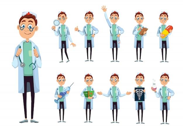 Doktor charakter illustrationssatz