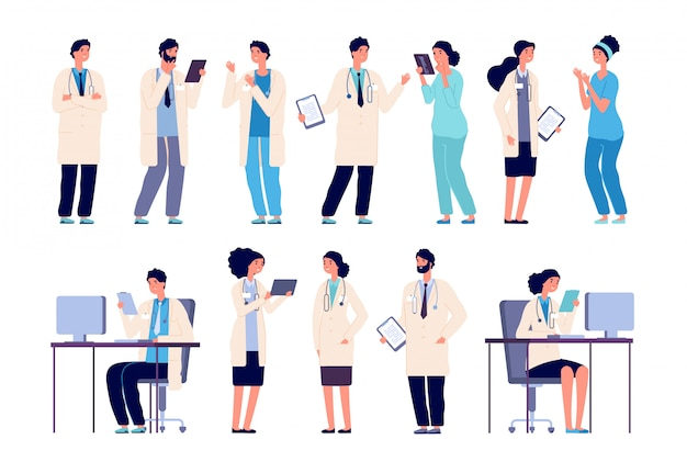 Doktor charaktere. mitarbeiter des medizinischen krankenhauspersonals.