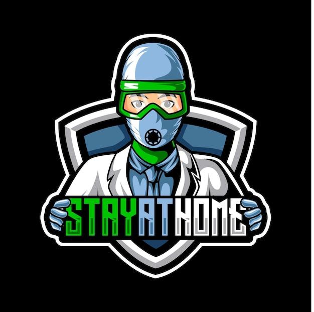 Doktor covid 19 maskottchen esport logo team