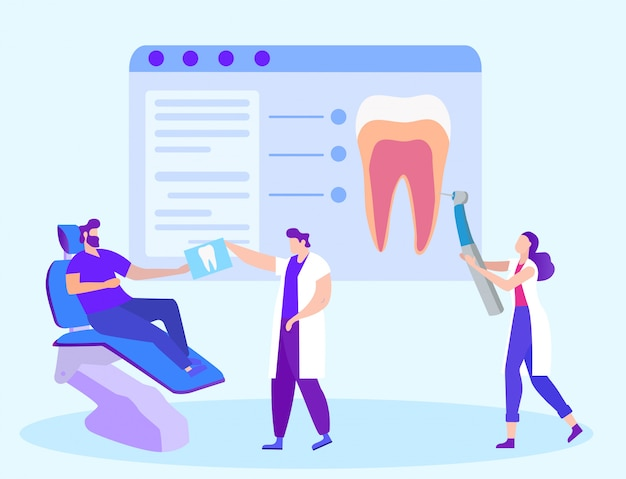 Doktor dentist gives snapshot tooth zum patienten