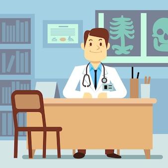 Doktor, der am tisch im medizinischen vektorgesundheitswesenkonzept sitzt. charakterberufsarzt o
